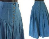 Reserved, please do not purchase - 70s Blue Denim High Waisted Patchwork Skirt S