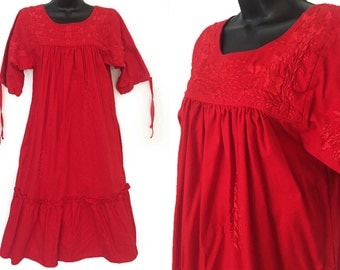 70s Red with Floral Embroidery Mexican Ethnic Tent Dress S M