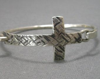 Cross Bracelet, Large Hammered Sterling Silver Artisan Hand Forged Cross Bangle, Handmade Cross Bracelet