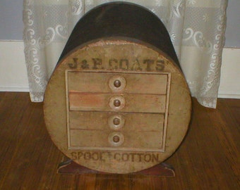 Antique Spool Cabinet PICK Up ONLY RARE J&P Coats Thread Chest Original Condition