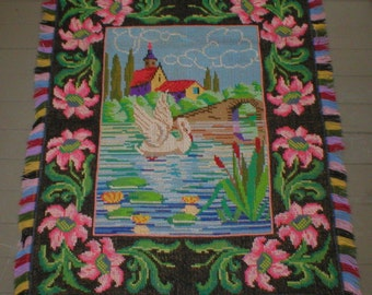 Vintage Cross Stitch Tapestry rug Wall Hanging Large 37X30