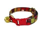 Cat Collar that's Hard to Lose - Fancy Cat Collar - Red Cat Collar - Safe Collar for Cats - Cat Collar with Elastic - Outdoor Cat Collar