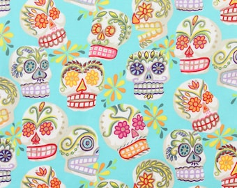 Calaveras Turquoise Metallic Glitter - By Alexander Henry G5428C  100% Quilters Cotton Available in Yards, Half Yards and Fat Quarters