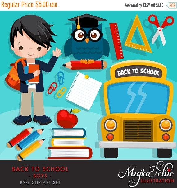 50% OFF SALE Back to school Clipart. Cute students school ...