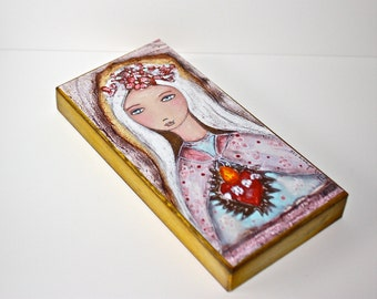 Sacred Love  -  Giclee print mounted on Wood (3 x 6 inches) Folk Art  by FLOR LARIOS