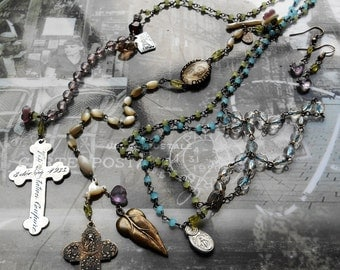 My Eyes Adore You Vintage Rosary Lariat Necklace French Theme