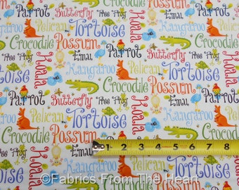 Aussie Mates Zoo Animals w Words on White BY YARDS Henry Glass Cotton Fabric