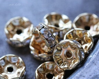 10% off 8mm Gold Czech Crystal Rhinestone Rondelles x 10 (rhi-30)