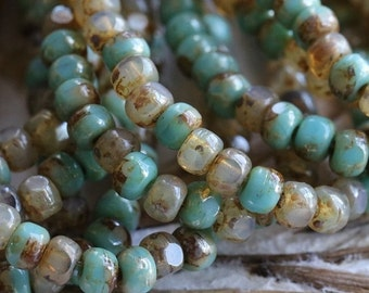 10% off CASHMERE TURQUOISE SEEDS .. New 50 Picasso Czech Glass Tri-Cut Seed Bead Size 6/0 (5348-st)