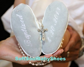 baby girl baptism shoes personalized in white leather - white leather baptism baby boy shoes -