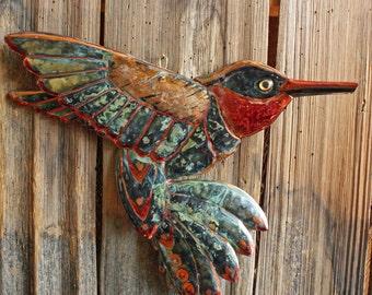 Hummingbird - large copper songbird sculpture - with verdigris blue-green patina - OOAK