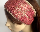 Womens Ear Warmer Womens Headband Tree of Life Headband Winter Headband Tree Branch Headband Pink Headband - MADE TO ORDER