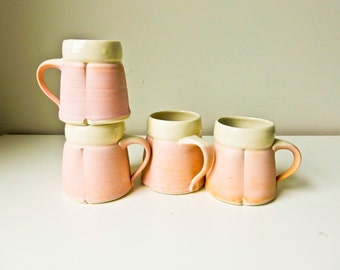 Handmade Pottery Cups, 4 Hand Made Mugs, Coffee Mugs, Tea Cups