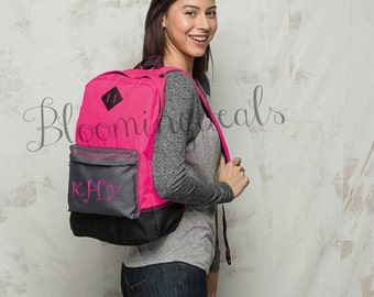 Monogram Backpack  Custom Embroidery Personalized Neon Pink Book Bag