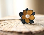 Flower and Pearl Ring, Golden Lotus Ring, Wedding, Art Jewelry, Bride and Bridesmaid