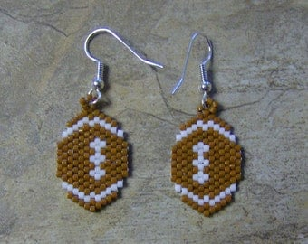 Football Earrings Hand Made Seed Beaded