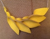 Petal Collection-  Yellow Leather Necklace