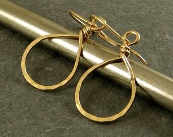 Gold Drop Earrings, Extra Small Teardrops 14K Gold Fill Earrings