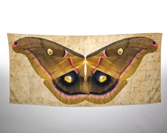 Festival Clothing, Coachella, Polyphemus Moth Wing Scarf, Shawl Wrap Handmade, Brown Butterfly