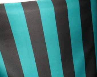 "3.25"" Turquoise Teal Black Thick Stripe Poly Stretch Fabric BTY"