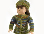 Doll Sweater and Hat 18 Inch Doll Sweater Knit Doll Sweater Olive Green Striped Doll Sweater and Hat American Girl Doll Knit Sweater and Hat