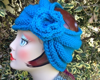 Knit Turban Bright Turquoise Headband Handmade for Women