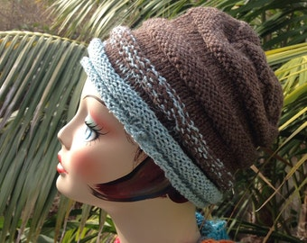 Knit Unisex Ski Hat Blue and Brown