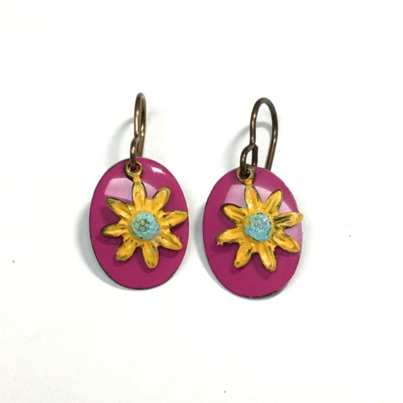 Tiny painted flowers on bright pink oval earrings