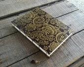 Large Brown And Gold Floral Lokta Journal, Handmade Blank Coptic Stitch Art Journal, Brown Lokta Sketchbook, Lokta Wedding Guest Book