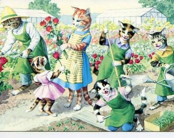 Mainzer vintage postcard, Cats gardening. Mainzer dressed cats,  Postcard no. 4927 vintage postcard, SharonFosterVintage