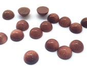 12 Pieces Natural Brown Goldstone Cabochons-8mm (08BGLD)(B-5-22)