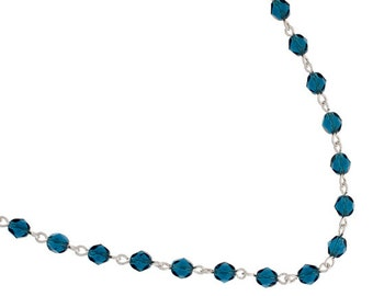 One Meter (3.28 Feet) Czech Glass Beaded Chain-Montana with Silver Link 5mm (5010)