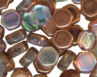 30 Pieces Czech Hexx Beads - 2 Hole - Crystal Copper AB - 6mm (8813013)