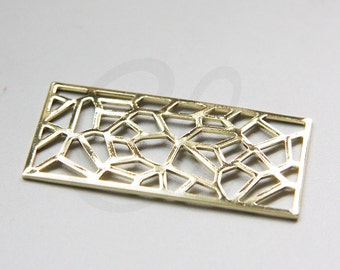 One Piece Premium Gold Plated Brass Base Filigree Rectangle Link - 45.5x23.5mm (3074C-F-606)