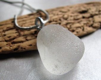 Davenport, CA Small White Boulder Sea Glass Beach Glass Pendant - Sea Glass Jewelry