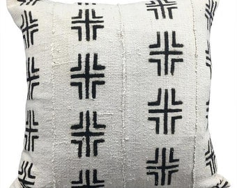 Vintage African White Mudcloth Pillow | SOUTH