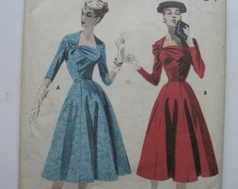 "1950s Dress - 38"" Bust - Butterick 7891 - Vintage Sewing Pattern"