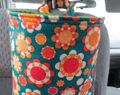 Car Trash Bag Reusable in Orange and Cream Flowers on a Blue-Green Background, Car Accessory, Litter Bag