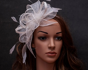 Stunning white large fascinator with feathers and crystal rhinestones