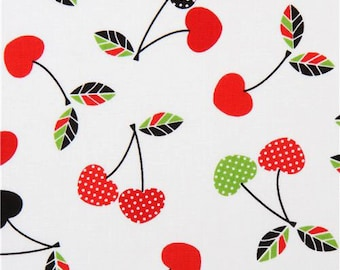 Fat Quarter - Let's Eat Cherries on White Fabric by Robert Kaufman Fabrics ACK-15689-195 Bright