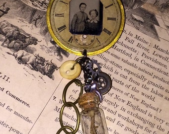 Steampunk Victorian Inspired Brooch Pin Pocket Watch Face Tin Type Quails Feet Vial Gears Button Ginas Creations Original