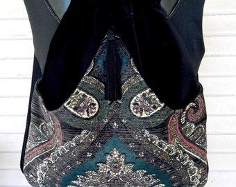 A Tapestry Backpack Renaissance Backpack Boho Backpack Bohemian Slingbag Black Velvet Backpack