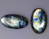 2 flashy Labradorite oval cabochons, excellent multi color flash, 94.75 carats total       043-10-639