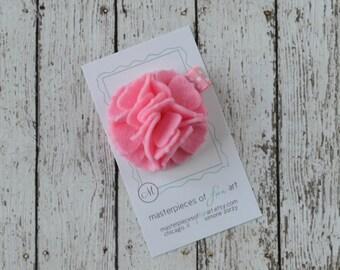 Light Pink Felt Carnation Flower Hair Clip on a Polka Dot Clippie - pastel pink - felt flower hairbow - flower hair bow with non slip grip