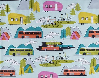 Retro Blue Pink Yellow Campsite Camping RV  Travel Trailor Tent New Window Curtain Valance Cotton Fabric