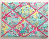 New memo board made with Lilly Pulitzer Multi In The Beginning fabric and pink ribbons