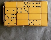 Vintage Bakelite Crisloid Dominoes Game pieces Butterscotch Yellow Set of 28 Early Unique Design