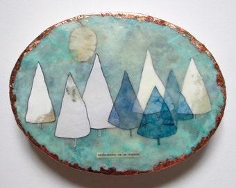 Encaustic art, ovals, pine tree encaustic, vignettes, home decor, tree painting