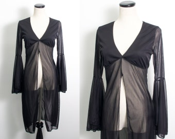 VTG 90's Gothic Sheer Black Cover Up Top (small) V Neck Empire Waist Bell Sleeves Open Front Retro Layer