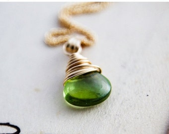 ON SALE Peridot Birthstone Necklace Gold August Green Pendant
